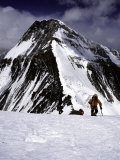 Climbers Nesr the High Camp at the North Col of Everest Photographic Print by Michael Brown