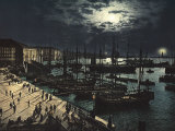 Night View of Triest's Harbour Photographic Print