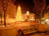 Christmas Tree on Snowy Night in Pioneer Courthouse Square, Portland, Oregon, USA Photographic Print by Janis Miglavs