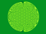 Celtic Fractal Pattern on Green Background Photographic Print by Albert Klein