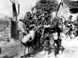 A Group of French Soldiers, They Quench Their Thirst in a Village of the Belgian Border Photographic Print