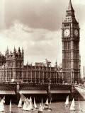 Thames Day on the River Between Westminister and Hungerford Bridges Photographic Print