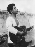Portrait of a Young Sicilian Man Playing the Guitar Photographic Print