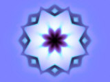 Flower-Like Fractal Design Within Star on Blue Background Photographic Print by Albert Klein