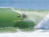 Surfer Shoots the Curl, Cape Hatteras National Seashore, North Carolina Stampa fotografica di Gehman, Raymond