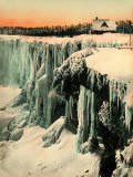Niagara's Falls with the River Frozen Under the Snow Photographic Print