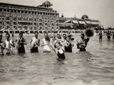 A Group of Musicians Plays in Waist-High Water Photographic Print