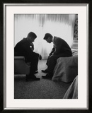 Presidential Candidate John Kennedy Conferring with Brother and Campaign Organizer Bobby Kennedy Art by Hank Walker