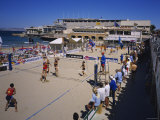 Women Playing Beach Volleyball, Plage des Catalans, Marseille, France Photographic Print