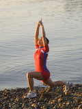 Woman Practicing Yoga on the Riverside, Bainbridge Island, Washington State, USA Photographic Print