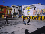 Four People Playing Soccer, La Boca, Buenos Aires, Argentina Photographic Print