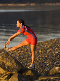 Woman Stretching her Leg, Bainbridge Island, Washington State, USA Photographic Print