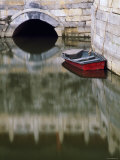 Empty Boat on Canal, Forbidden City, Beijing, China. Photographic Print