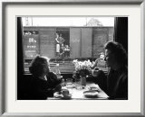 """Wife and Daughter of US Soldier in First Class Dining Car Looking at German """"Expelles"""" in Boxcars Poster by Walter Sanders"""