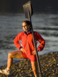 Woman Standing with Oars Leaning Against Her Shoulder, Bainbridge Island, Washington State, USA Photographic Print