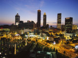 Buildings Lit Up at Sunset, Centennial Olympic Park, Atlanta, Georgia, USA Photographic Print
