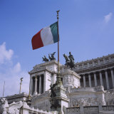 Flag in Piazza Venezia, Rome, Italy Photographic Print