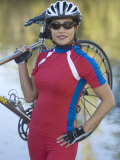 Woman Carrying a Sports Bicycle, Bainbridge Island, Kitsap County, Washington State, USA Photographic Print