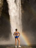 Woman Standing on a Rock and Holding a Javelin, Snoqualmie Falls, Washington State, USA Photographic Print