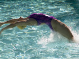 Young Woman Swimming the Backstroke in a Swimming Pool, Bainbridge Island, Washington, USA Photographic Print