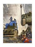Tanks Roll Out of an American Assembly Line During World War Ii Photographic Print by Thorton Oakley