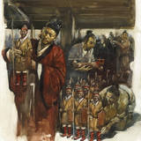 Han Dynasty Laborers Dress Clay Statues of Imperial Army Soldiers Giclée-tryk af Burt Silverman