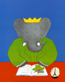 Babar leyendo Lmina por Laurent de Brunhoff