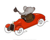 Babar en Auto Prints by Laurent de Brunhoff