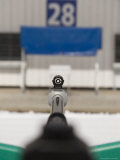 A Rifle Points at a Target on a Range at a Biathalete Center Photographic Print by Taylor S. Kennedy