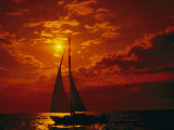 A Silhouette of a Sailboat on Lake Michigan Photographic Print by Todd Gipstein