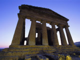 A Twilight View of a Greek Temple in the Valley of the Temples in Sicily Photographic Print