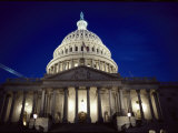 East Front of the Capitol Building at Night Photographic Print