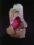 Tourmaline Resting on a Crystal Photographic Print by Jr, Victor R. Boswell