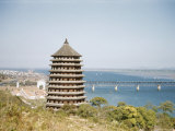 Six Harmonies Pagoda and the Bridge Across the Chien Tang River Photographic Print by Maynard Owen Williams