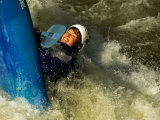 A Kayaker Flips in the Rapids Photographic Print by Barry Tessman