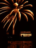 Fourth of July Fireworks from the Potomac River Overlooking the Lincoln Memorial Photographic Print by Medford Taylor