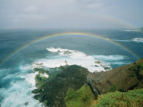 A Double Rainbow Brightens a Rainy Day off the Coast of Maui Photographic Print by Marc Moritsch