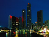 Beautiful Nighttime View of the Skyline of Singapore and its Harbor Photographic Print by Nicole Duplaix