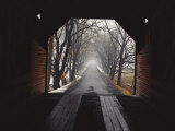 A View Down a Tree-Lined Road from Inside the Meems Bottom Bridge Photographic Print by George F. Mobley
