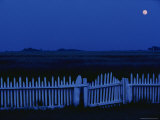 Moon and Picket Fence at Rhodes Point Photographic Print by Robert Madden