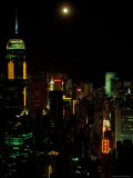 The Moon over the City Lights of Hong Kong Photographic Print by Todd Gipstein
