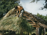 Seminole Indian Thatching a Chickee with Palm Fronds Photographic Print by Willard Culver