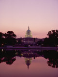 Twilight View of the Capitol and its Image in the Reflecting Pool Photographic Print by Kenneth Garrett