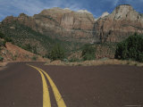 The Center Lines of a Road Descend into Zion National Park Photographic Print by Stacy Gold