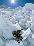 A Female Climber Descends the Khumbu Icefall Photographic Print by Bobby Model