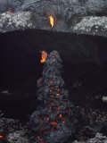 Cooling Pahoehoe Lava Drips over a Lichen-Strewn Ledge Photographic Print by William Allen
