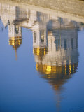 A View of a Greek Orthodox Cathedral Reflected in the Still Waters of the Moscow River Photographic Print by Steve Raymer