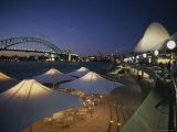 The Harbour Bridge and Opera House Frame an Outdoor Restaurant Photographic Print by Sam Abell