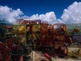 Lobster Traps are Stacked on the Shoreline Photographic Print by Medford Taylor