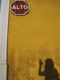 A Womans Shadow Cast on a Wall with a Stop Sign Photographic Print by Heather Perry